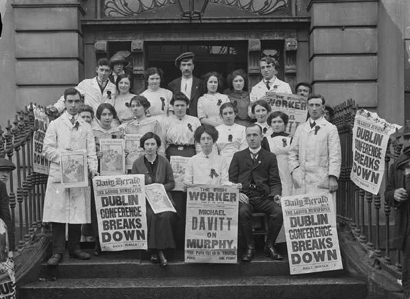 Members of the Jacobs Strike committee, steps Liberty Hall, undated. Delia Larkin and possibly Rosie Hackett are pictured
