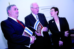 Men are not on the back foot: Dr Carol Coulter at the launch of her second report on family law in 2007 - with the Chief Justice, John Murray and then Minister for Justice, Michael McDowell