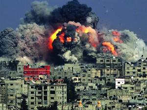 US-funded Israeli bombing of Gaza. 2014