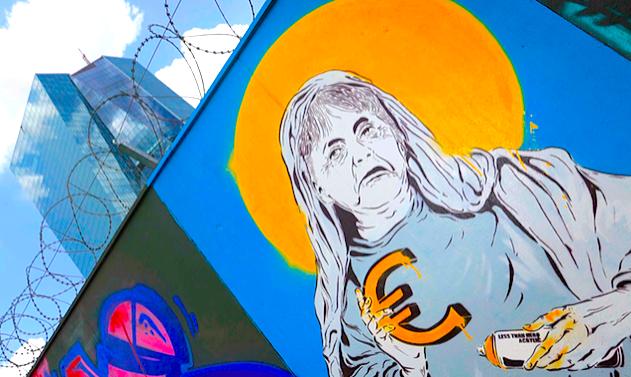 Anti-euro Graffiti outside the ECB in Frankfurt.
