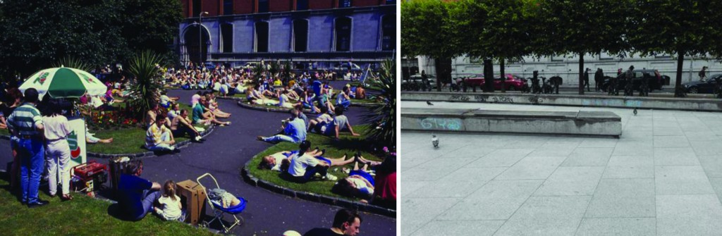 a popular Wolfe Tone Park in the 1990s (left) and the redeveloped plaza in July 2015 (right)