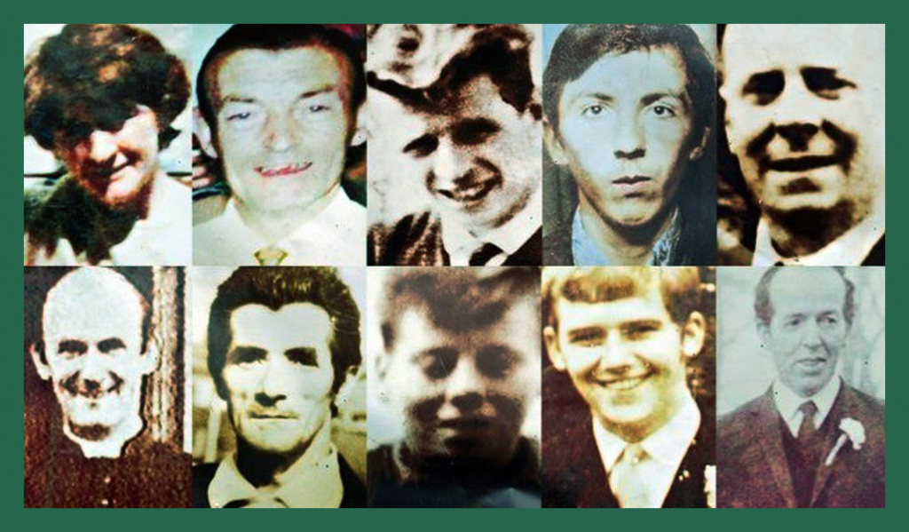 This image has an empty alt attribute; its file name is Ballymurphy-victims-green-border-1024x599.png